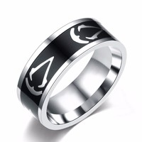 Titanium Steel Assassins Creed Ring Size 7~13 Assassins Creed Master Logo Symbol 8MM Titanium Steel Ring Rings Accessory