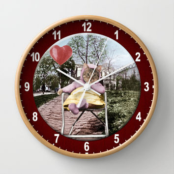 Pretty little Kitty with a heart balloon Wall Clock by Peter Gross