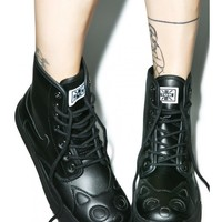 T.U.K. Black Out Kitty Boot | Dolls Kill