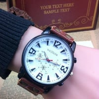 white face wrist watch, real brown leather wrist watch bracelet for men, men's wrist watch, boy wrist watch  PB037-W