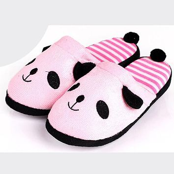 Women Cute Slippers Cartoon Panda Plush Winter Warmer Home Soft Slippers Female Lovely Shoes Chausson Femme #6216