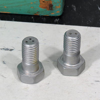 Vintage Novelty Salt and Pepper Shakers . Aluminum Threaded Bolt . Mid Century Modern Industrial
