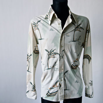 Vintage Kmart 70's Disco Islands in the Stream Shirt Men's Jersey Silky with Palm Trees Sailboats