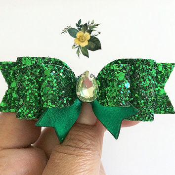 St. Patrick's Day Hair Bow, Green Hair Clip, Green glitter bow, St. Patty's Day, Green Headband, Baby Headband, Sparkly bow,Meghan and Julie