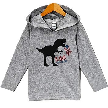 Custom Party Shop Kid's Dinosaur 4th of July Hoodie Pullover