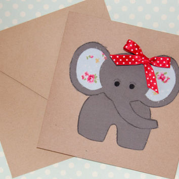 New Baby Card - Fabric - Handmade Childrens Birthday Card - Fabric Elephant on Recycled Kraft - Shabby Chic
