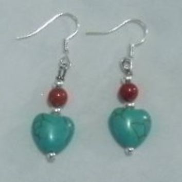 Turquoise & Red Coral Dangle Earrings