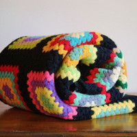 Bright Colorful Crocheted Afghan, Multicolored Granny Square Afghan Blanket, Throw, Bohemian, Bright Neon Color, Rainbow