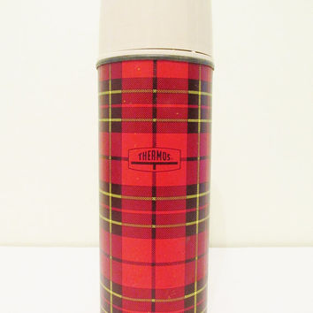 Vintage 1970's Vintage Red Plaid Campy Pint Thermos