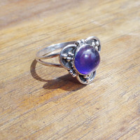 Natural Purple Amethyst Ring 925 Sterling Silver Ring Jewelry amethyst stone ring, silver amethyst ring, round shape amethyst gemstone rings