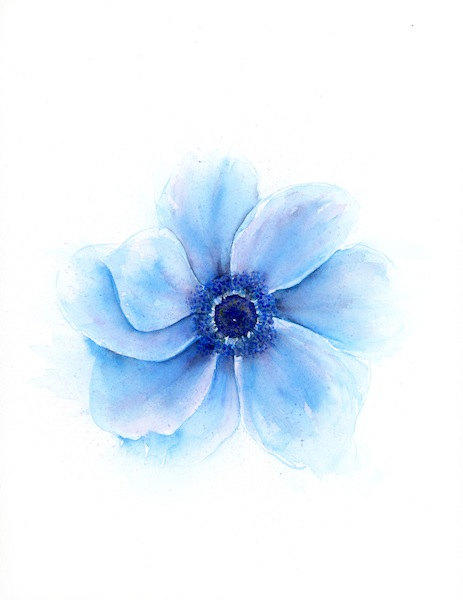 Blue Flower Watercolor Floral Print From Srorickart On Etsy