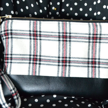 Sale- Ivory Plaid Wristlet Clutch
