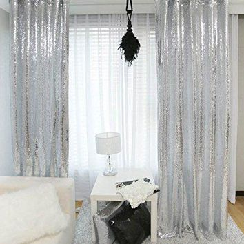2pcs Sequin Backdrop Curtain-3x8ft, Shimmer Sequin Fabric/Tablecloths Photography,Sparkle Sequin Curtains-Silver