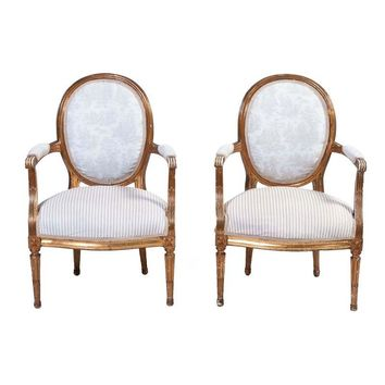 Pre-owned Louis XVI-Style Chairs, Pair