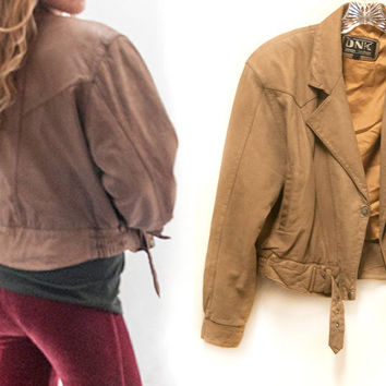 80s Super Soft Genuine Leather Cropped Biker Jacket | Womens Small XS S M Light Brown Tan Leather Bomber | 1980s 90s Rocker Grunge Vintage
