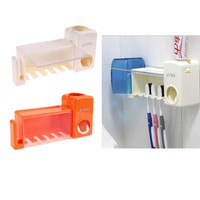 Automatic Toothpaste Dispenser 5 Toothbrush Holder Set Wall Mount Stand Toothbrush Family Toothbrush Holder Bathroom Accessories
