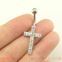 cross belly button rings,diamond cross bellybutton jewelry, navel ring,body piercing,bellyring,oceantime