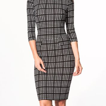 Casual Boat Neck Flap Plaid Bodycon Dress