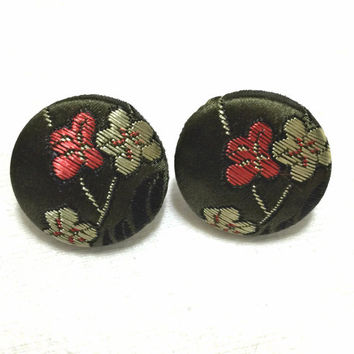Olive Green Brocade Fabric Button Earrings