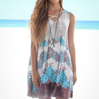 Ocean Ridge Mocha & Sky Sleeveless Print Dress