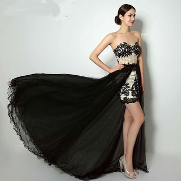 Beaded Lace Appliques Two Pieces Evening Dress Lace-up Back Tulle Formal Party Gowns