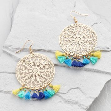 Turquoise, Blue and Yellow Tassel Drop Earrings