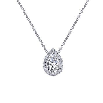 Lafonn Sterling Silver Pear Shaped Halo Simulated Diamond Necklace