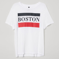 T-shirt with Printed Motif - White/Boston - Ladies | H&M US