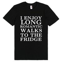 Long Romantic Walks To The Fridge Black Tee T Shirt-Black T-Shirt