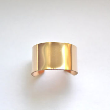 Armor Cuff Ring- Gold Band- Statement Ring- Fall Fashion
