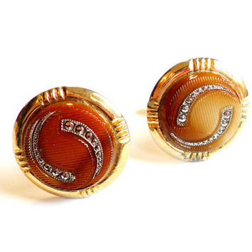 Vintage Art Glass Cufflinks - Faux Marcasite - Czech Art Glass - Gold Tone Metal - Brown Marbled Glass - Wedding - Groom - Groomsmen Gift