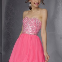 Sticks & Stones by Mori Lee 9282 Neon Pink Party Dress