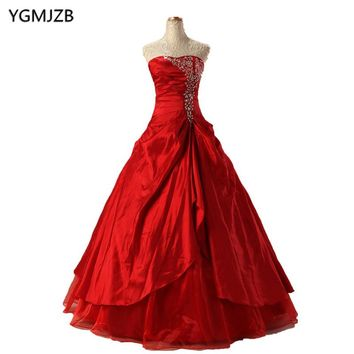 Red Quinceanera Sweetheart Gown