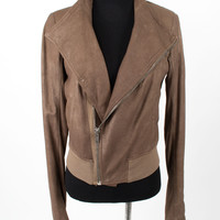 Brown Leather Jacket with Oversized Collar size:8