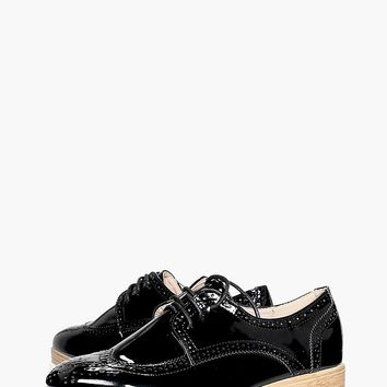 Annabel Cleated Lace Up Brogue | Boohoo