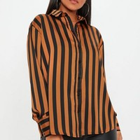 Missguided - Brown Stripe Oversized Satin Shirt