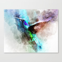 With brave wings she flies inspirational quote watercolor hummingbird motivational saying bird print Canvas Print by igalaxy