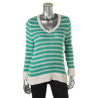Style & Co. Womens Petites Ribbed Trim V-Neck Pullover Sweater