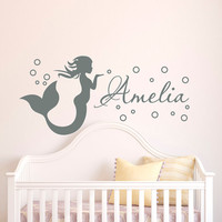 Mermaid Wall Decal Girl Name Decals Vinyl Stickers- Girl Nursery Wall Decal Personalized Name- Mermaid Girls Kids Baby Room Wall Decor Q070