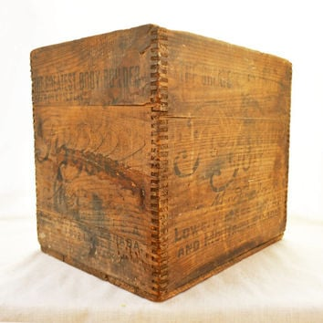"Antique Wooden Shipping Crate, Father John's Medicine, ""The Greatest Body Builder"",  Rustic Wood Storage Crate"
