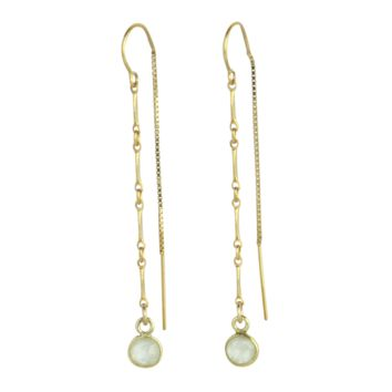 Elke Gemstone + Chain Threader Earrings in Moonstone