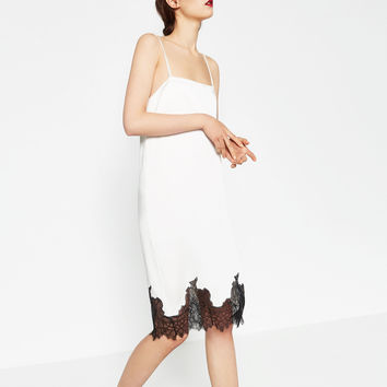 DRESS WITH LACE TRIM - View All-DRESSES-WOMAN | ZARA United Kingdom