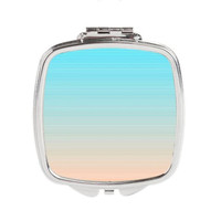Striped Compact Mirror - FREE shipping to USA pastel pink blue white cute girly pretty pocket mirrors silver square small striped print art