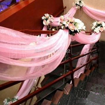 *Sheer Organza Fabric Flower Heart-shaped Arches wedding Veils decoration Crystal Fabric Tulle Chair