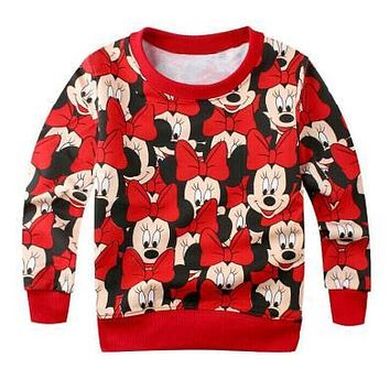Hot baby girls boys cartoon mickey cotton printing t-shirts childrens lovely minnie t shirts tees tops children's clothes
