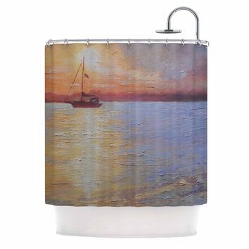 "Carol Schiff ""Evening Anchor"" Orange Painting Shower Curtain"
