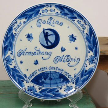 Delft First Men on the Moon Plate • 1969 • Royal Delft Holland • Blue & White • Hand Painted • Collectible Plate
