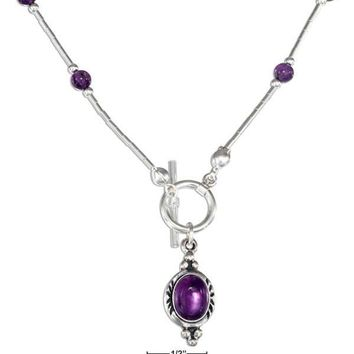 """Sterling Silver 16"""" Amethyst Beaded Liquid Silver Toggle Necklace"""