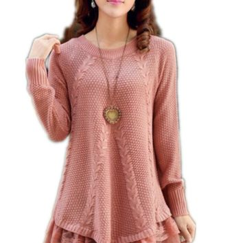 Lace Women Sweater Dress