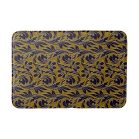Metallic Waves,Navy-Gold-Medium Bath Mat Bath Mats